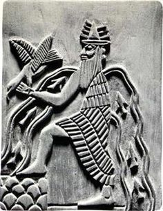 Image of the Sumerian god Enki, with characteristic symbols: bird, goat and water flows