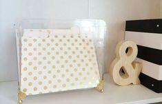 diy embellished acrylic file box with decorative feet sprayed gold. Kate Spade folders.