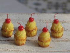 Dollhouse Miniature Cupcakes, Dollhouse Lemon and Maraschino Cherry Cupcakes, Miniature Food in 1:12 scale, 5 Cupcakes included by miniThaiss on Etsy
