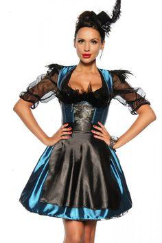 - sehr hochwertiges, vierteiliges Dirndl-Kostüm aus Satin - passend für das Oktoberfest oder andere Gelegenheiten - Corsage mit zehn eingearbeitet...