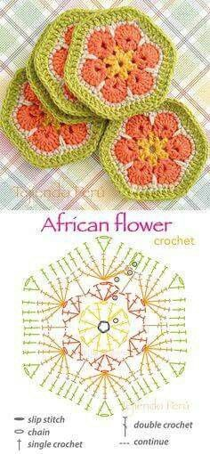 African flower crochet picture
