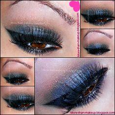 Prom makeup tutorial -blue and black smokey eyes http://more-than-makeup.blogspot.it/