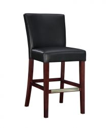 Powell Furniture Black Bonded Leather Bar Stool transitional-bar-stools-and-counter-stools