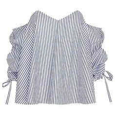 Caroline Constas Striped Poplin Off The Shoulder Blouse ($395) ❤ liked on Polyvore featuring tops, blouses, off the shoulder blouse, white off the shoulder blouse, white off shoulder blouse, striped top and white blouse