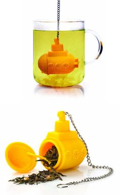 Yellow Submarine Tea Infuser (http://blog.hgtv.com/design/2013/07/12/daily-delight-yellow-submarine-tea-infuser/?soc=pinterest)