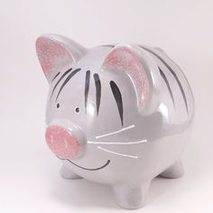Grey Kitty Piggy Bank Personalized Piggy Bank Kitty by ThePigPen
