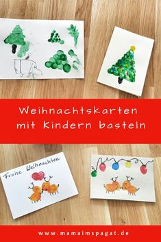 Tinker Christmas cards with children - easily with fingerprints, bast . Explosion Box, Xmas Presents, 4 Kids, Diy Cards, Favorite Holiday, Kids And Parenting, Kindergarten, Christmas Cards, Arts And Crafts