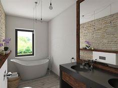 Projekt domu KA23 144,26 m2 - koszt budowy - EXTRADOM Modern Bungalow House, Modern House Design, House Outside Design, Facade House, House Layouts, Corner Bathtub, Home Projects, House Plans, Bathroom
