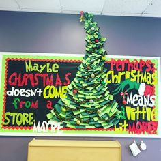 How the Grinch Stole Christmas bulletin board used for a preschool class. A dr. Seuss Christmas