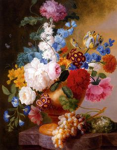 Still Life Of Tulips, Roses, Peonies, Narcissus, And Other Flowers In A Urn by Pieter Faes (1750 - 1814).