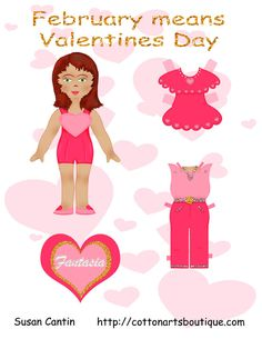 FANTASIA  Paper Doll | by Susan | February means valentines. Meet Fantasia who loves to dress in hearts and glitter.
