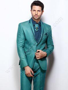 Сине-зелёный мужской костюм-двойка   рубашка   галстук с брошью