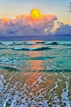 Sunrise breaking through the clouds on Varadero beach - Cuba