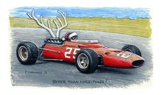 """Joyeux Noël 2015!!! © Paul Chenard 2015 Pencil, pen&ink and markers on 9""""x 5"""" watercolour paper. Ferrari 312 referenced from the Cahier Archive © Bernard Cahier: http://www.f1-photo.com/Search/1967/p1x16#/Photo/Amon_1967_Holland_02_BC.jpg/Search:1967/p5x16"""