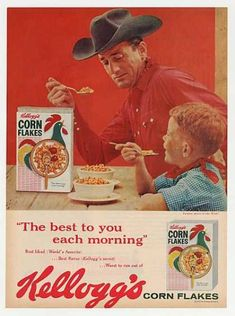 Vintage Ads 1960S | Kellogg's Corn Flakes Cowboy and Boy Photo (1960)