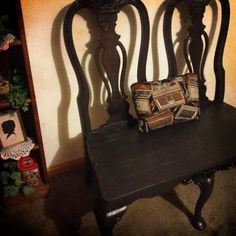 Repurposed BenchThE DoubLet by ThELocKe on Etsy, $160.00 Bench Decor, Chair Bench, Black Bench, Furniture Repair, Doublet, Repurposed, Upcycle, Recycling, Unique Jewelry