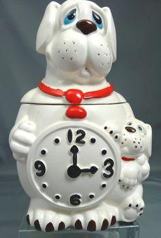 Vintage Watch Dog Puppy Cookie Jar Clock Rare