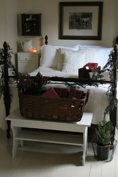 Red,white, and green. I love simple decor. Decorating bedroom for holiday