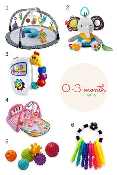 In my Gift Guide below, I picked out my favorite toys for ages 0-3, 3-6, and 6-12 months! Kennedy has all the toys in age 0-3 and I use them all the time during playtime. She especially loves the piano play mat and she LOVES kicking the piano and hearing the noise it makes