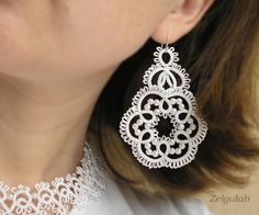 Wedding tatted Earrings with 925 Sterling Silver por Zelgulab