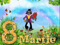 felicitari pentru 8 martie frumoase ,fluturasi,flori,nouri miscatoare gif