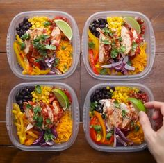 Chicken Burrito Bowls: 2-3 boneless skinless chicken breasts, 3 bell peppers sliced, 1 red onion, 2 tablespoons olive oil, 1 tablespoon taco seasoning, salt&pepper, 1 jar salsa, 3 cups of cooked brown rice, 1 can black beans, 1 can corn, 1 cup shredded cheddar cheese, 1 lime  https://www.buzzfeed.com/hannahmars/17-delicious-healthy-grain-bowls-that-will-fill-you-up