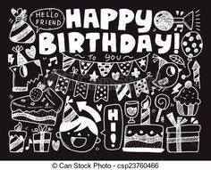 Clip Art Vector of Doodle Birthday party background csp23760466 ...