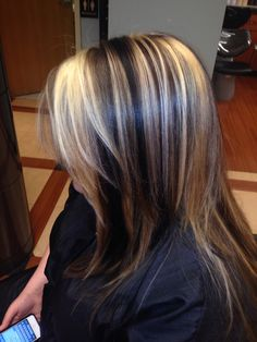 Warm dark chocolate brownie lolights with soft honey blonde highlights! Love this look for fall.. Chunky lolights.