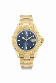 Rolex. A fine 18K gold automatic wristwatch with blue brushed dial, centre seconds, date and bracelet, circa 1994 #ChristiesWatches