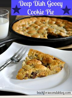Deep Dish Chocolate Chip Cookie Pie - Ooey gooey with peanut butter and marshmallow filling!!  #cookiepie #peanutbutter