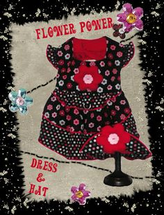 """""""Flower Power"""" harness dress & hat boutique PDF sewing pattern for dog clothes by http://missdaisydesigns.com"""