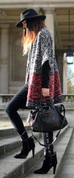 #winter #fashion / oversized cardigan + leather