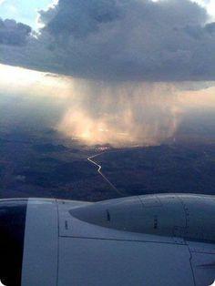 Rain, as seen from an airplane