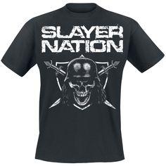 """Classica T-Shirt uomo nera """"Slayer Nation"""" degli #Slayer con ampia stampa frontale."""