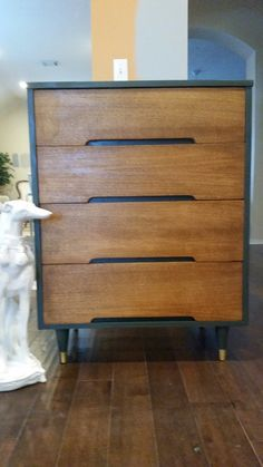 Painted and Stained Mid-Century Dresser
