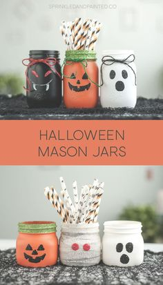 30 Spooktacular ways to decorate your Mason Jars for Halloween - Hike n Dip Get crafting this Halloween season with your Mason Jars. Here are some amazing & spooky Halloween Mason Jar decor ideas & tutorials you can try out easily. Mason Jar Pumpkin, Pot Mason Diy, Fall Mason Jars, Mason Jar Crafts, Plastic Jar Crafts, Glitter Paint Mason Jars, Painted Mason Jars, Mason Jar Painting, Adornos Halloween
