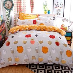 dream ns bedding set 4 pieces cartoon cat style watermelon duvet cover pillowcase bedsheet home decoration textile bed linen