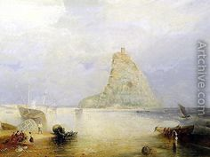 Michaels Mount, Cornwall, 1834 reproduction by Joseph Mallord William Turner Art Romantique, Turner Painting, St Michael's Mount, Joseph Mallord William Turner, Watercolor Landscape Paintings, Oil Paintings, Web Gallery, Find Art, Framed Artwork
