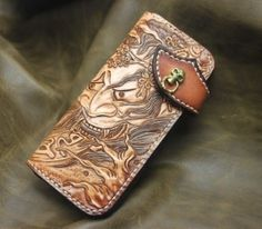 Handmade Leather Biker Wallet Hannya Demon Mask Fire by Aipiyi, $168.00