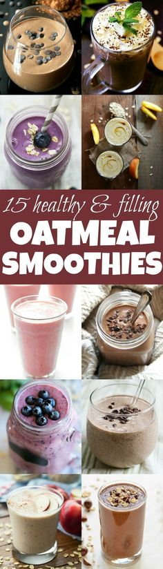 Healthy Smoothies Made with Oats Add some extra staying power and nutrition to your smoothies with these healthy oatmeal smoothie recipes!Add some extra staying power and nutrition to your smoothies with these healthy oatmeal smoothie recipes! Smoothie Drinks, Healthy Smoothies, Healthy Drinks, Green Smoothies, Healthy Oatmeal Smoothies, Smoothie With Oatmeal, Smoothie Recipes With Oats, Detox Drinks, Smoothies To Lose Weight