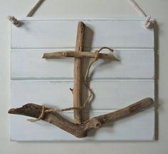 rustic nautical driftwood anchor art  shabby by beachcomberhome, $32.00