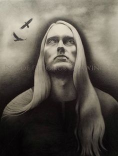 """""""Ung Oding"""" (Young Odin). Pencil on paper. 2014."""