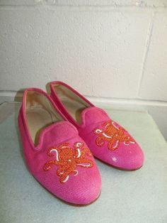 Stubbs   Wootton Pink Red Octopus Fabric Loafer Shoe Women Size 7M Made in  SPAIN d667f8b4e013