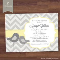 Baby Shower Invitation - Tall Little Birdie - Chevron - yellow, grey - Bird, girl, Boy, Twins, Gender Neutral, (Digital Printable) on Etsy, $14.99