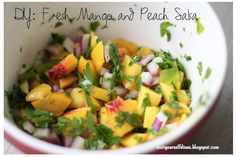 do it yourself divas: DIY: Fresh Mango and Peach Salsa with a hint of coconut!!!  YUM!  This would be so good on tacos or chicken or just by itself!
