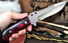 CFK Ipak USA Custom Handmade D2 Bushcraft Hunter Black Walnut Skinner Knife
