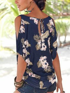 Navy Random Floral Print Cold Shoulder Tie-up at Back Tshirts – Mollyca