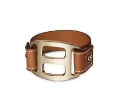 """Pagode Hermes leather bracelet (size S) Barenia calfskin Permabrass plated hardware, 6.7"""" circumference Color: natural"""