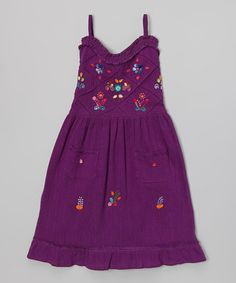 Purple Sol Embroidered Dress - Infant, Toddler & Girls