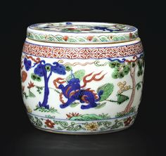 An outstanding and rare wucai 'mythical beast' jar and cover, Mark and period of Wanli